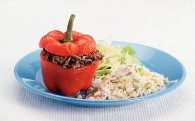 Gevulde paprika met gehakt en courgette